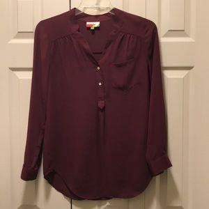 Long cranberry tunic dress shirt.